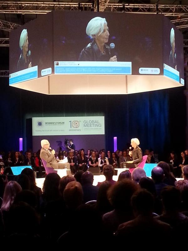Christine Legarde, rockstar woman & head of IMF rocking #wf14 @Womens_Forum http://t.co/8oFKG4Z5Gg
