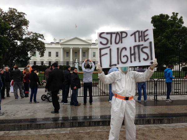 Protestors call for ban on air travel to US from West Africa nations. (CBS photo by Erick Washington). http://t.co/AyLNmqsn9g