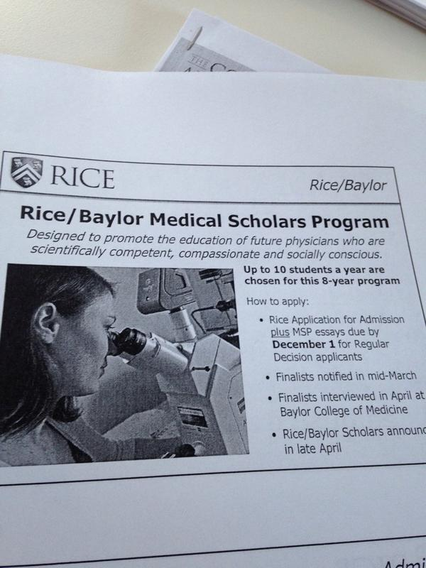 Do you think I can get into the Rice/Baylor Medical Scholars Program?