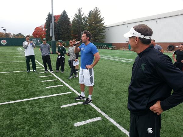 Ben Affleck, who is on campus shooting scenes for Batman v Superman, addressed MSU's football team prior to practice. http://t.co/QxrL8LLwlG