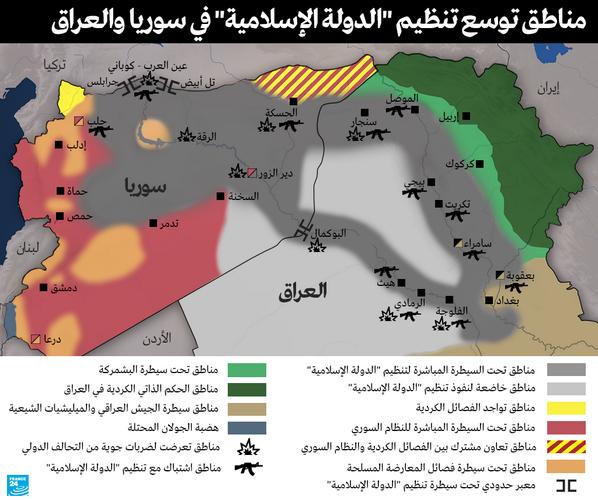 """خريطة: تنظيم """"الدولة الإسلامية"""" مستمر في التوسع في العراق وسوريا  http://t.co/HmwEJtZ33V http://t.co/0tmkat9roD"""