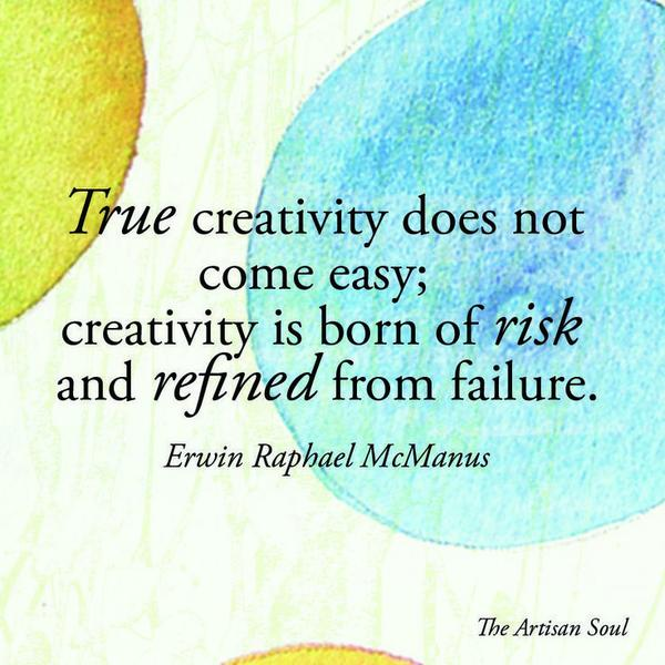 """True creativity does not come easy; creativity is born of risk and refined from failure."" @erwinmcmanus http://t.co/6eUiJLwGAP"