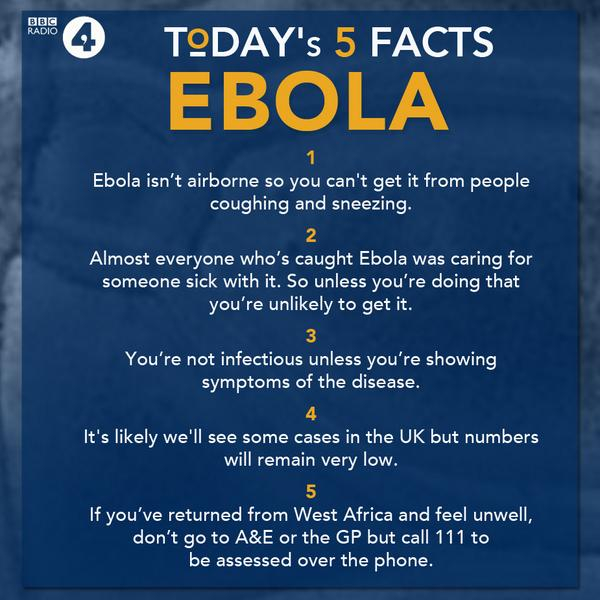 Five #Ebola facts from @BBCr4today. Full coverage from BBC News: http://t.co/U7bh1QAfeJ http://t.co/4ROI3SyJpB