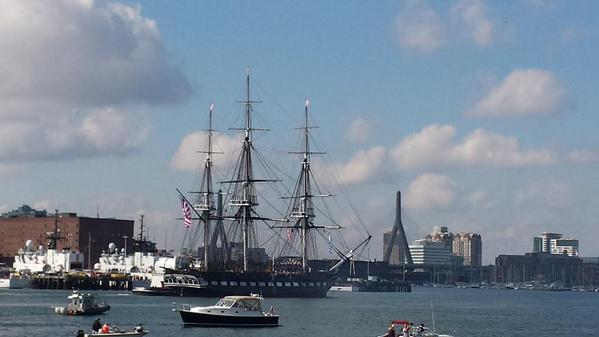 The @USSConstitution  takes one last turn around in Boston Harbor.  @universalhub http://t.co/91cw0CzOF4