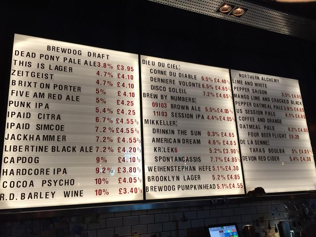 Newcastle on twitter quot our brewdog draft list has had to spill over