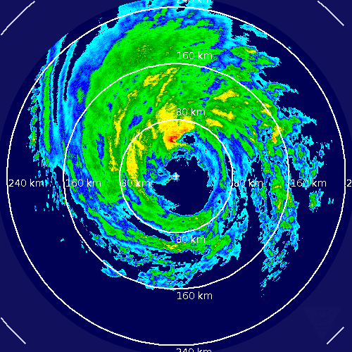Direct hit on Bermuda. Eye went dead center over the Island. Never seen that before! http://t.co/W6tbKorWhY