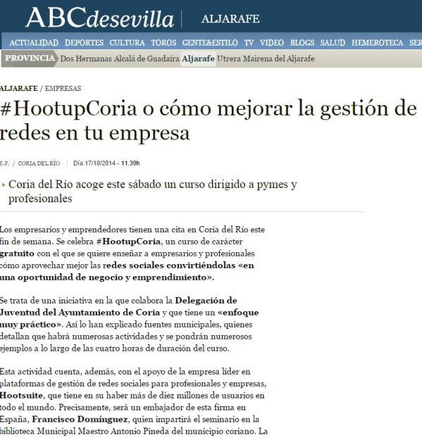 #HootupCoria en los medios: ¡Enhorabuena!  http://t.co/SNORHNa573 @HootsuiteES #HootAmb @modestopacoria http://t.co/lANLwoQIGT