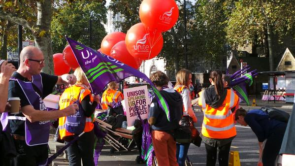 Stewards getting ready for the march. Lots of noise and excitement around #18oct http://t.co/UIhfxGgwLJ