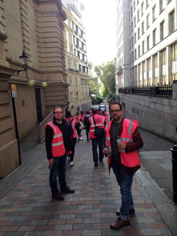 The @nusuk stewarding team getting ready for #18Oct demo. Britain needs a pay rise! http://t.co/tm9po6SBSM