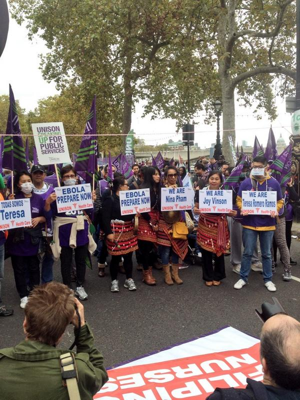 We're at the TUC march today. Our Philipino nurses are out in force #18Oct http://t.co/rS0IaIyHWG