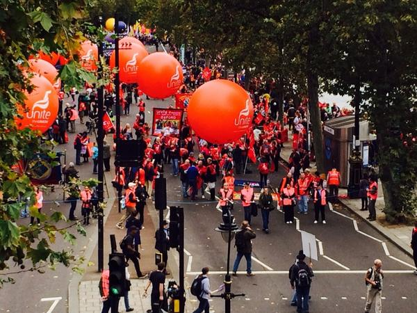 """Thousands gathering at  Embankment in London for TUC's """"Britain needs a pay rise""""   march   #18oct http://t.co/kTb46jKN4Y"""