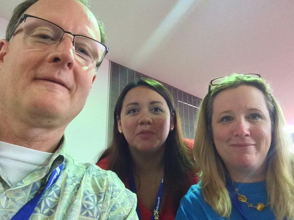 Good morning. Selfie with Kay and April at ISTE2014  #CatholicEdChat http://t.co/bTo3MS6FqO
