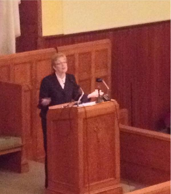 Barlow speaking in Corning, New York on October 18. Twitter photo by People for a Healthy Environment.