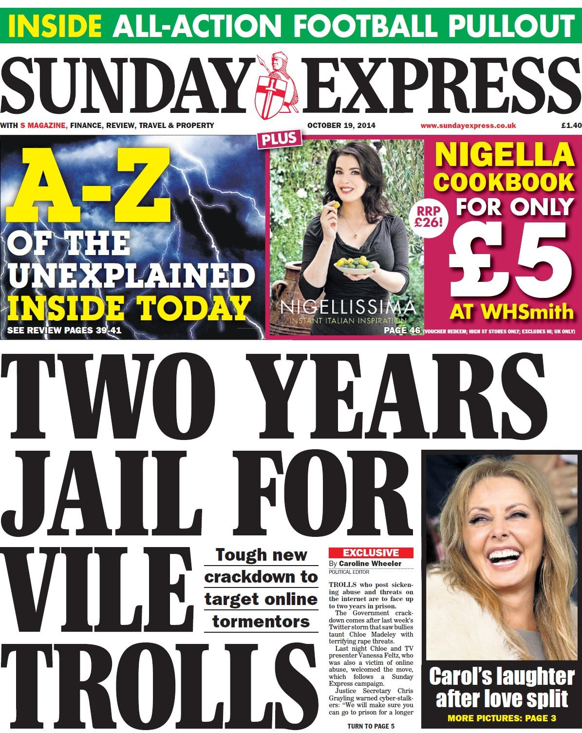 TWO YEARS FOR VILE TROLLS - Sunday Express B0QJM94CQAAysur