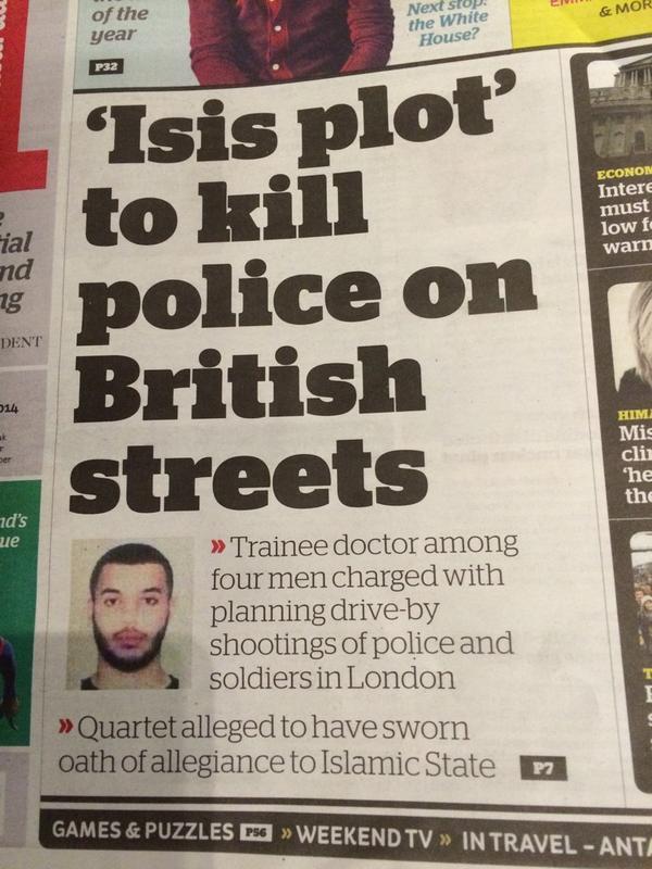 القبض علي الطبيب تحت التدريب طارق حسان في لندن قبل تنفيذه اغتيالات للشرطة البريطانية في الشارع تضامنا مع داعش:( http://t.co/ULNNRzmCpm