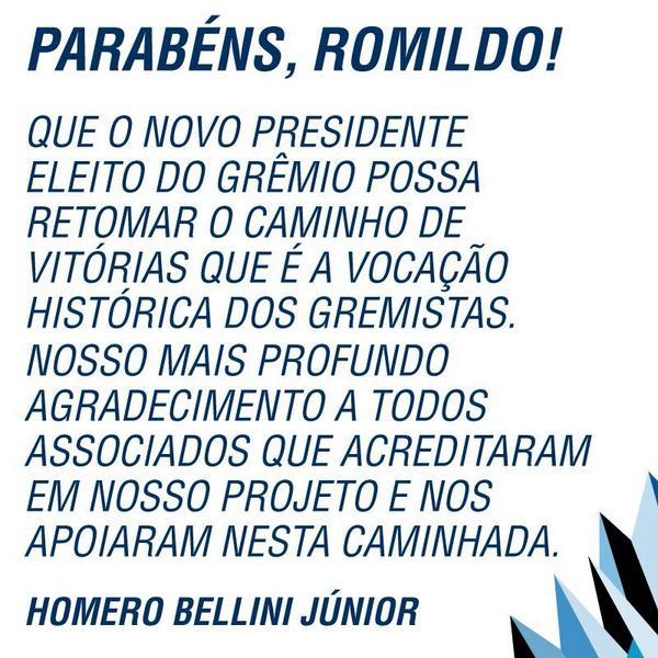 Parabéns @romildogremio! Sucesso e felicidades no comando do nosso Grêmio. http://t.co/myMGFhEolF