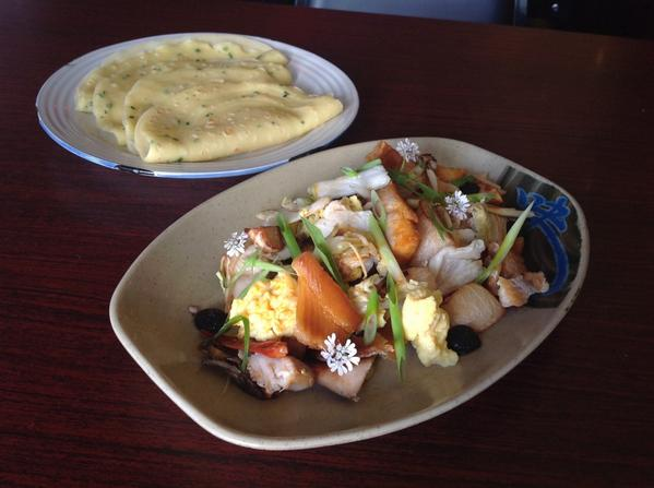 Mu Shu Special: Smoked Trout, maitake, kohlrabi pickle, w chive and brewer's yeast pancakes http://t.co/J4ZoVsvvpK