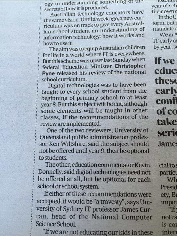 From weekend @afr. A true tragedy. I just can't understand why our Luddite govt is actively condemning our kids. http://t.co/H5rQIsKqA0