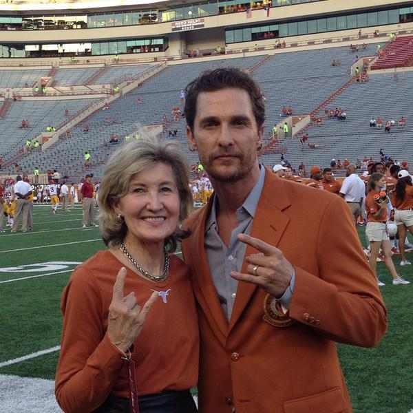 @McConaughey @UTAustin game cheering for our @TexasSports Longhorns ! He got rousing ovation! Go Horns! http://t.co/OHMh3rnsi4