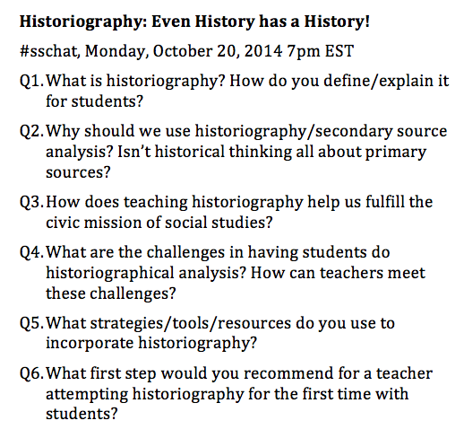 Here are the questions for tonight's #sschat on Historiography http://t.co/j4IJ8tzq5L
