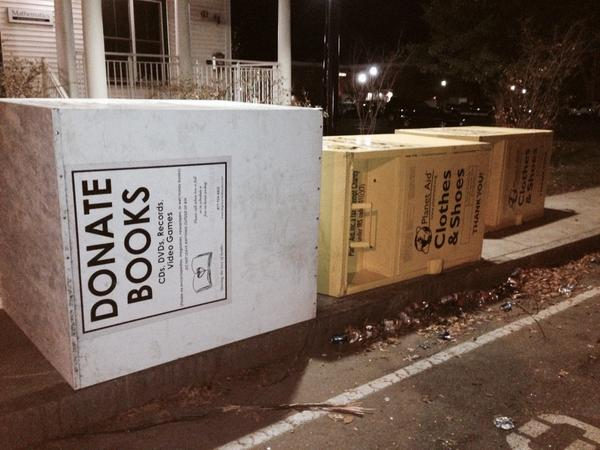 Donation boxes moved off the street after being flipped by rioters in Keene.  http://t.co/SfRTNsKPCH via @sean_wmur