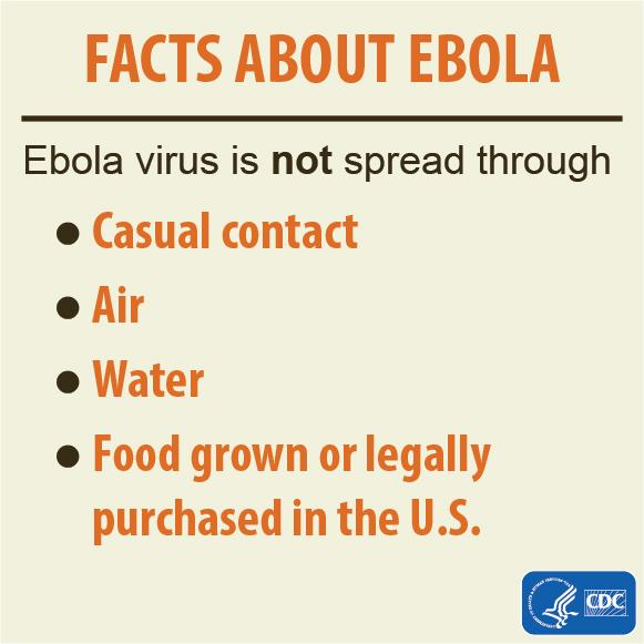 The #Ebola virus is NOT spread through: casual contact, air, water, food grown or legally purchased in U.S. http://t.co/DaRfrXyykK