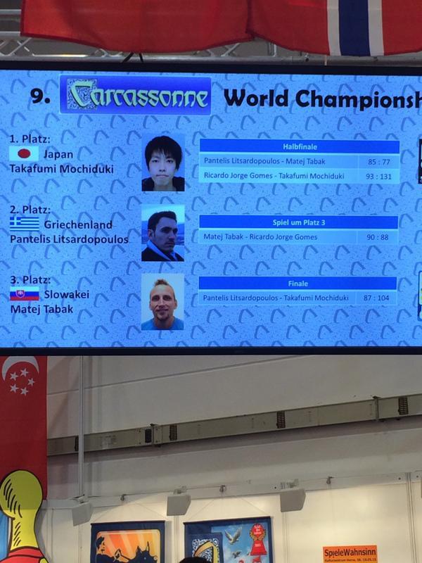 カルカソンヌ世界選手権は望月さん優勝。ラストの修道院で拍手が起こるナイスプレー :) http://t.co/2Zhf0WLcRp