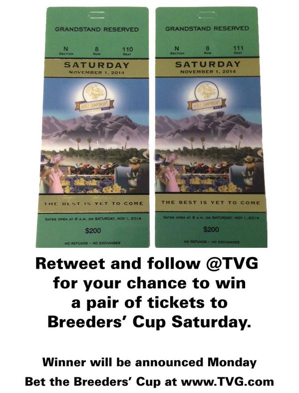 Want to go to the Breeders' Cup? Retweet and follow us for a chance to win a pair of tickets for BC Saturday! http://t.co/IEMTIjVWaq