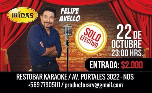 "Avello presenta miércoles 22 octubre, ""intimo"" en Midas. Local del periodista Sergio Rojas en Avda Portales 3022 Nos http://t.co/apedtjZnMN"