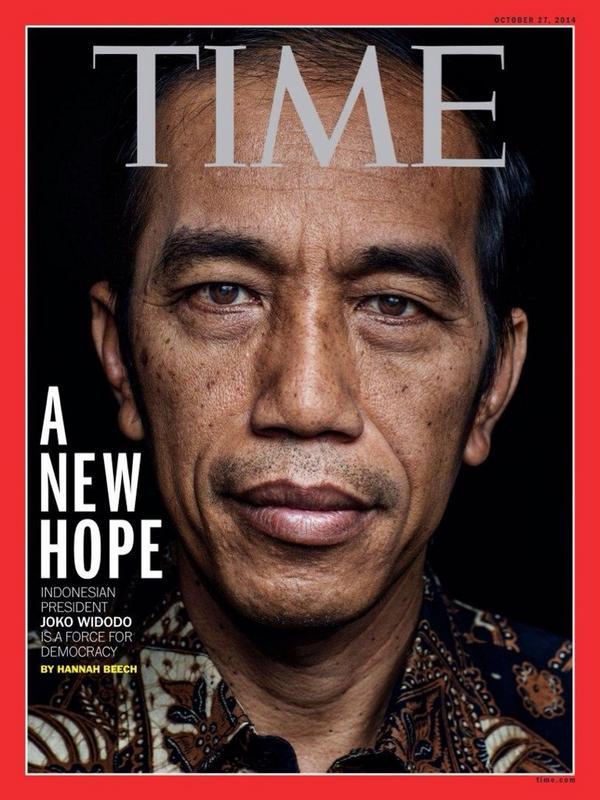 "Copertina TIME: Indonesia festeggia il nuovo presidente Joko Widodo ""Jokowi""."