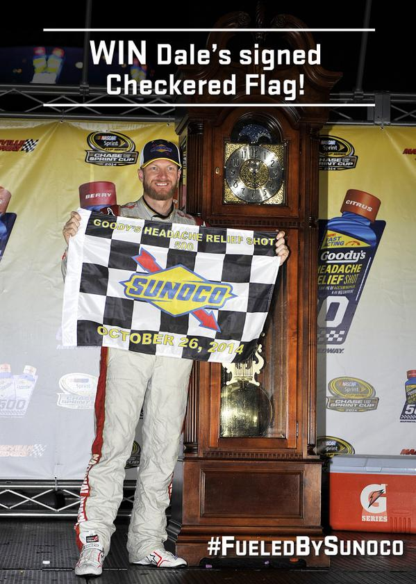RETWEET & FOLLOW for a chance to win a #Goodys500 race flag signed by @DaleJr!   #NASCAR #JrNation #FueledbySunoco http://t.co/zx1y8zUcsU