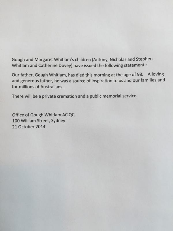 The death of Gough Whitlam: family statement. http://t.co/mOvycILopY