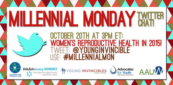 Join us for the #MillennialMon chat today at 3pm... topic is Reproductive Health! (via @YoungInvincible) http://t.co/c7h1fX27BP