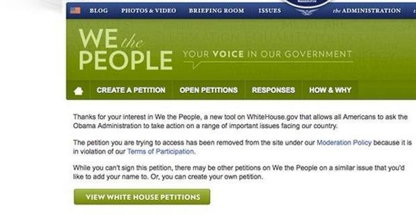 White House deletes petition asking to stop Ebola