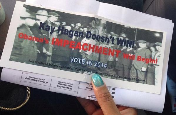 Pro-Kay Hagan flyer shows picture of a lynching