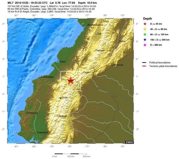 Terremoto Oggi in tempo reale sentito in Colombia e Ecuador, epicentro Vulcani Chiles e Cerro Negro.