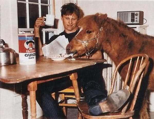 Viggo Mortensen eating breakfast inside with a pony. 1980's | Making ...