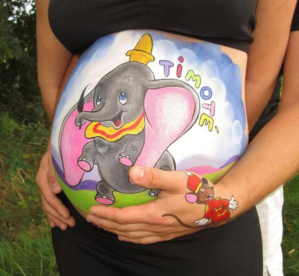 Bien-aimé Stéphanie fait du belly painting ! c'est de la peinture sur le  AT41