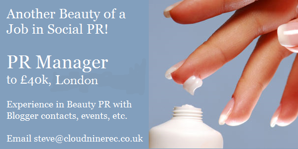 Recruiting a PR role in #Beauty for a major brand. Need Social savvy & lots of blogger contacts. £40k, London. DM me! http://t.co/kJz9Db6YC5