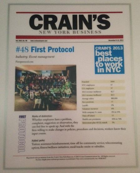 We did it again! Made it onto Crain's Best Places To Work! @FirstProtocol #DayInTheLife http://t.co/Q8sOQsvlhq