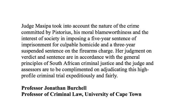 This statement from Prof Jonathan Burchell who's written the leading text books on criminal law #oscarpistorius http://t.co/UqNeXw1tca