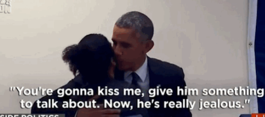 #Obama kisses a woman in a polling center after her boyfriend tries to lay down the law! http://t.co/b51BLDAgH5 http://t.co/EmIm9S7VgL