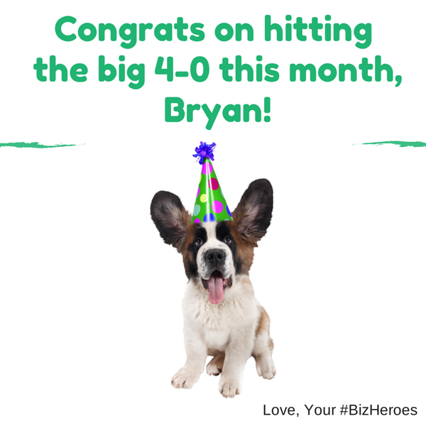 Did you know... we heard @bryankramer turned the big 4-0 this month? Happy Belated Bday, Bryan! #bizheroes http://t.co/J2QF4T6frh