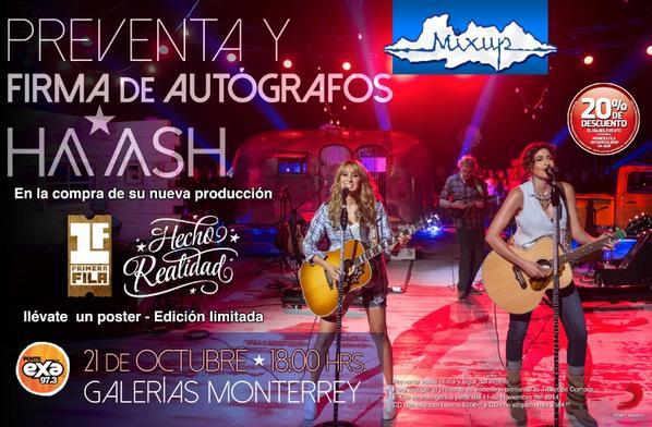 """""""@sonymusicmexico: El día de hoy @haashoficial estará en firma de autógrafos en @MixupTeam de @GalMty a las 6pm. http://t.co/EAHF5bq9N4"""