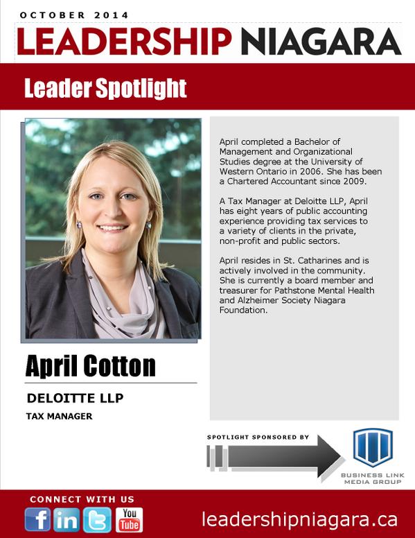 "Leadership Niagara on Twitter: ""April Cotton, @Deloitte ..."
