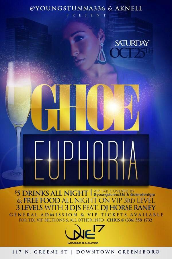 This weekend at One17 downtown Greensboro for #GHOE buy a VIP ticket & @YoungStunna336 will cover your bar tab! http://t.co/xDFcWzi2gK