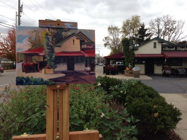 I spent this beautiful autumn afternoon painting one of my favorite spots in @Broad_Ripple the @brbrewpub http://t.co/TQQnSXfIen