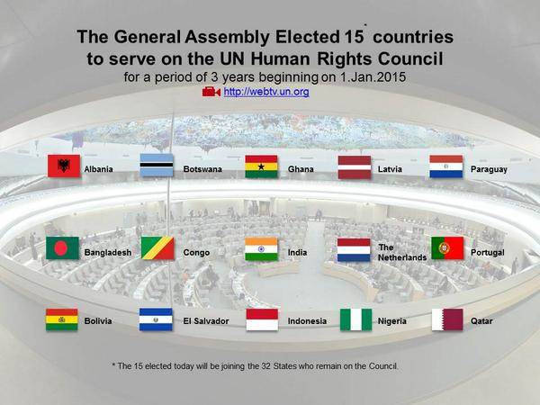 15 newly elected #HumanRightsCouncil members will begin their term on Jan 2015 alongside the other 37 members http://t.co/GP9FR6y3yU