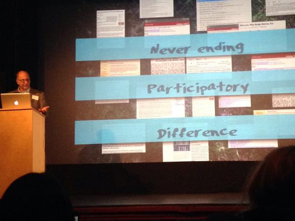 """""""Knowledge is now never ending, participatory, and there are differences."""" @dweinberger  @BookbuildersBOS #nepco2014 http://t.co/JU282jpNMH"""
