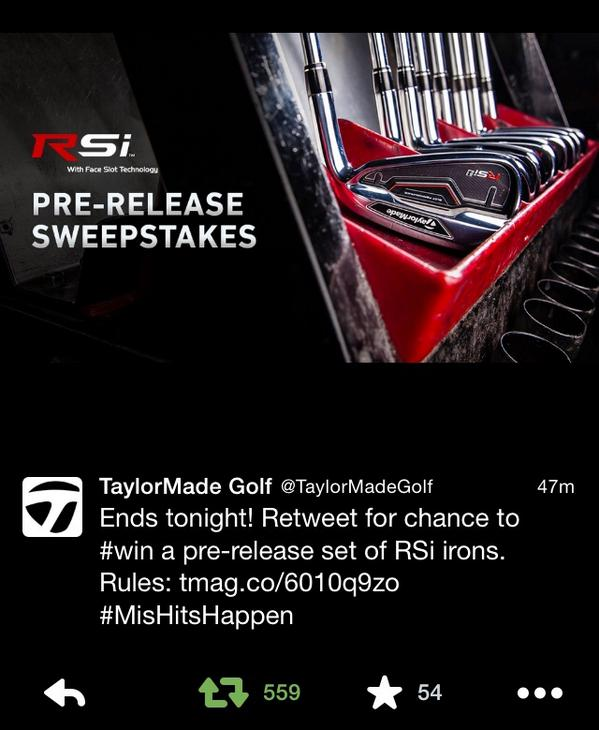 @TaylorMadeGolf giving away a new set of the RSi irons. You want these!!!! http://t.co/6KdOcHnjGc